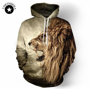 2017 Winter Hoodies Casual Sweatshirt Animal 3D Print LionHip Hop Pullover Men Coat Street Wear Sweatshirt
