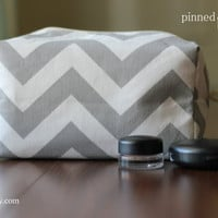 Large Makeup and Cosmetic Bag in Grey Chevron by pinnedpretty