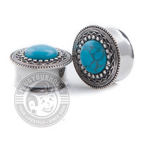 Turquoise Center Double Flared Steel Plugs