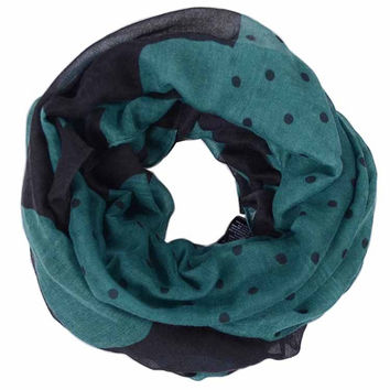 Free Shipping 2017 Fall New Fashion Green Navy Big and small Polka Dotted Pattern Infinity Scarf Snood Scarves For Women/Ladies