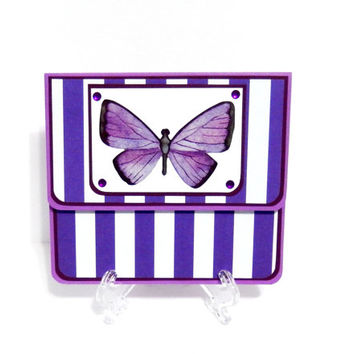 Gift Card Holder, Gift Card Envelope, Gift Card Box, Money Holder- Purple Butterfly