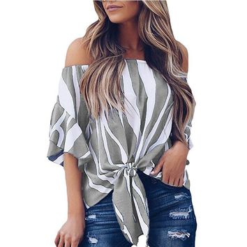 DeRuiLaDy 2018 Women Flare Sleeve Striped Chiffon Blouse Shirt Tops Sexy Off Shoulder Summer Tops For Womens Tops And Blouses