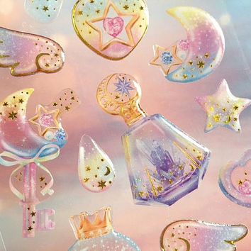 crystal bottle pumpkin cart magic ward sticker raindrop fairy tale princess theme fancy star epoxy sticker pressed flower pattern label