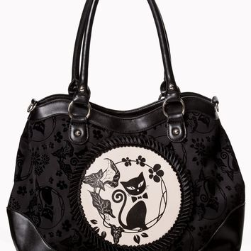 Sassy Black Kitty Cat & Flower Velvet Flocked Cameo Handbag
