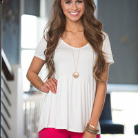 Give It A Whirl Peplum Blouse Ivory