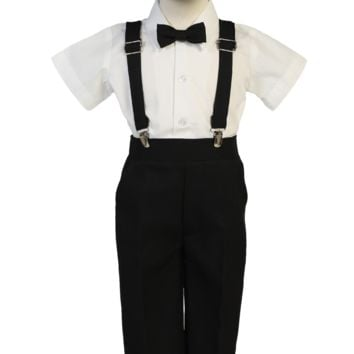 Boys Black Short Sleeve Suspender Pant Set with Hat 6M-7