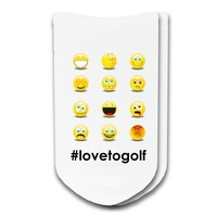 Emoji #lovetogolf No Show Golf Socks - Unisex White Cotton Socks - Sold by the Pair