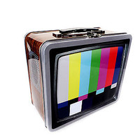 Old School Tube Television T.V. TV Tin Lunchbox School Lunch Box Pail Vintage