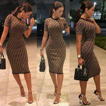 FENDI Women Fashion Short Sleeve Bodycon Maxi Dress