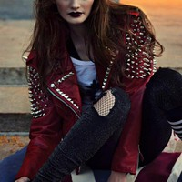 Punk RED LEATHER SPIKED & STUDDED MOTORCYCLE JACKET - Jackets