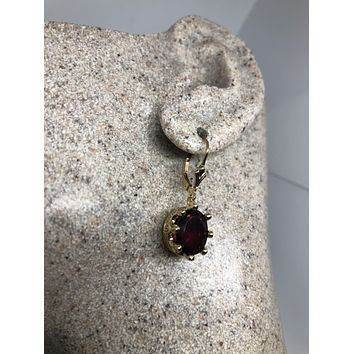 Vintage Handmade 925 Sterling Silver Garnet Earrings