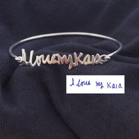 Signature Bangle- Signature Bracelet- Handwriting Bangle-925 Sterling Silver plated in 18k Gold- Bridesmaid Gift- Christmas Gift