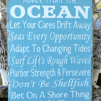 Advice From The Ocean Love Wood Sign Beach Wedding Decor Nautical House Theme Room Sign