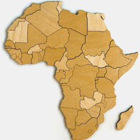 Africa Magnetic Wood Map Puzzle