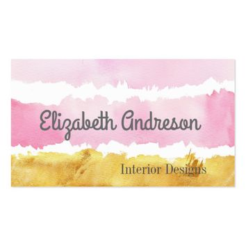 Contemporary Pink and Gold Watercolor Strokes Business Card