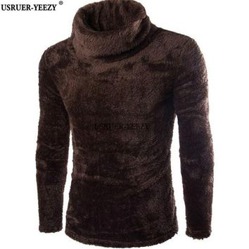 USRUER-YEEZY Promotion 7colors Turtleneck Sweaters Men Rabbit Fur Blended Soft Youth F