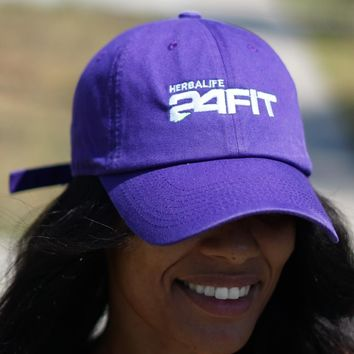 Herbalife 24 FIT polo dad hat, purple w/white