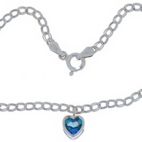 1 Carat Genuine Blue Mystic Topaz Heart Bezel Bracelet .925 Sterling Silver Rhodium Finish White Gold Quality