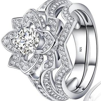 Flower Round White AAA Cz 925 Sterling Silver Wedding Band Engagement Ring Sets