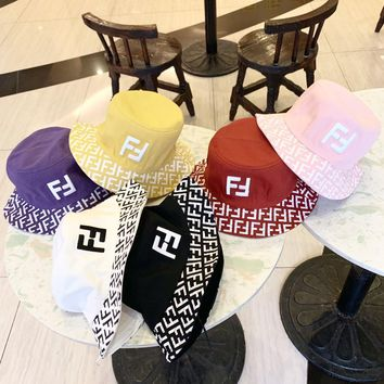 """FENDI"" Unisex Fashion Letter Print Embroidery Fisherman Cap Bucket Hat Couple Casual Sun Hat"