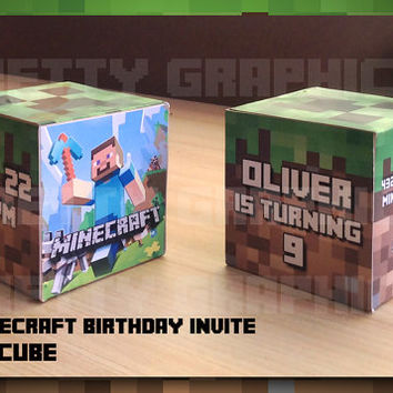 Minecraft Birthday Invite Cube 3D - Minecraft Printable - Birthday Invite Card - Party - Personalized - Party Printable - block , minecraft