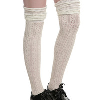 Cream Pointelle Over-The-Knee Scrunch Socks