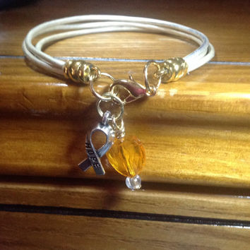 White Awareness Heart Bracelet-Leather-Gold or Silver Caps-lung Cancer- Bone Cancer-Osteoporosis-Heart Charm-Friendship Bracelet