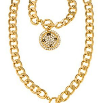 Goldtone with Clear Iced Out Watch Pendant Necklace & Toggle Bracelet Jewelry Set