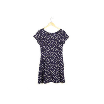 90s GAP daisy dress / vintage 1990s / floral / small allover print pattern / flowers / sun dress / grunge / mini / navy blue / size 1