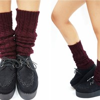 Cable Knit Leg Warmers -Burgundy