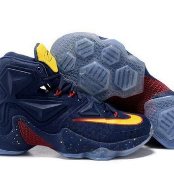 New Arrival LeBron 13 Navy Gold Cavs PE Cleveland Away VS Memphis Brand sneaker