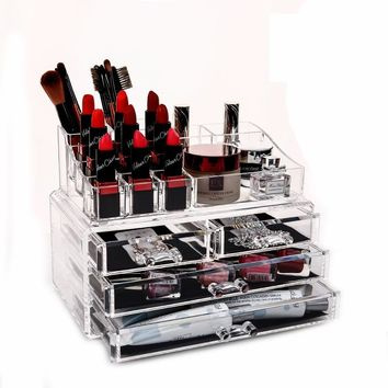 QUBABOBO Makeup Organizer Acrylic Storage Box Organizer For Cosmetics Brush Box Cosmetic Box Drawer Organizer Makeup Tools Bins