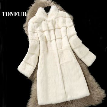 2018 New Factory Outlet Hot Selling Natural Genuine Rabbit Fur Coat Real Special Design Cut Real Rabbit Fur Long Overcoat WSR195
