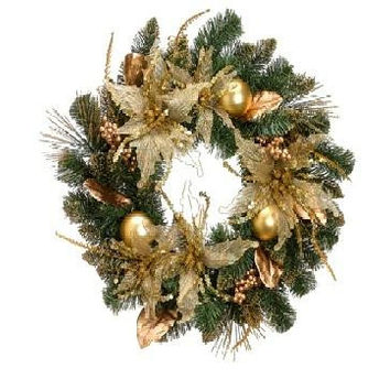 "Artificial Christmas Wreath - 24 ""  - Pre-decorated"