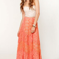 Honeysuckle Peach Lace Maxi Skirt