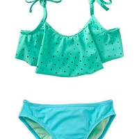 Girls Ruffled Mix-Print Bikinis