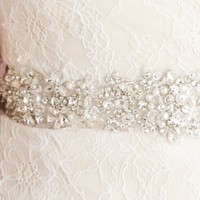 Embellished Strapless Lace Charmeuse Gown by Allure Bridals Romance