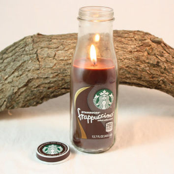 Coffee Candle in Upcycled Starbucks Bottle, Cappuccino, Coffee, Coffee Mocha, Espresso Latte, Hazelnut Coffee Scented, Upcycled Starbucks Candle