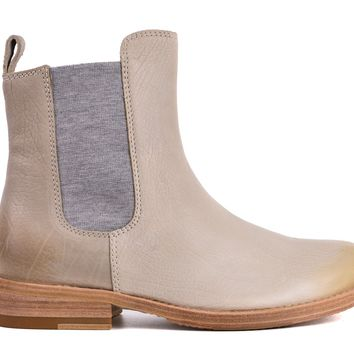 Brunello Cucinelli Womens Distressed Grey Leather Chelsea Boot