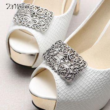 1 Pair Vintage High-heel Women Hollow Metal Shoe Clip Decor floral Removable