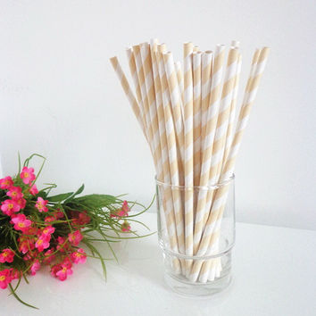 50 Ivory Striped Paper Drinking Straws-Cake Pop Sticks Decorative White Paper Straws for Wedding Party Chirtsmas Birthday Wave Paper Straws