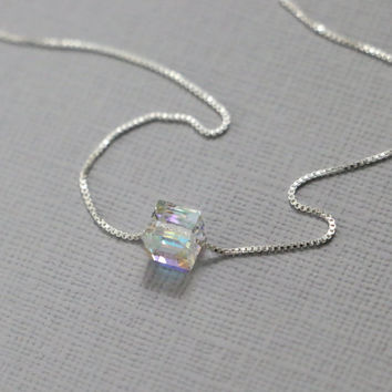 Swarovski Cube Necklace, Sterling Silver Necklace