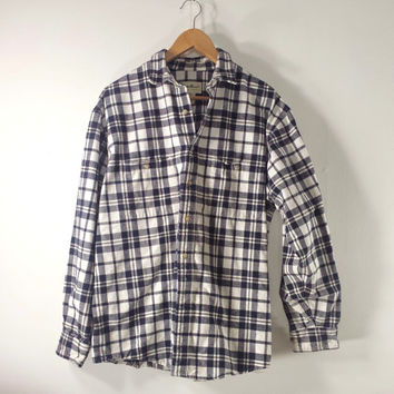 Vintage Eddie Bauer Men's Flannel Shirt - Navy Blue & White Plaid - SZ M/L