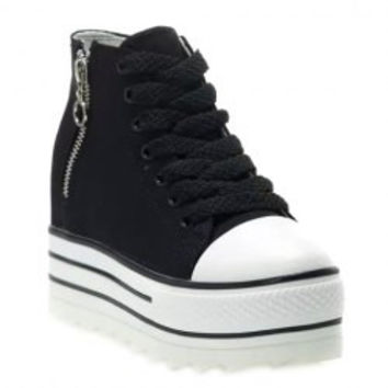 Trendy Zipper and Platform Design Women's Canvas Shoes