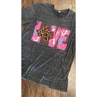 LOVE Shirt with Llama/Leopard Fabrics