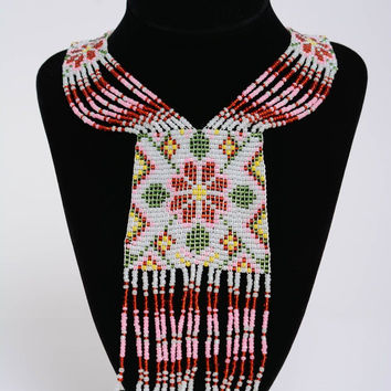 Bright gerdan beaded necklace long pattern handmade jewelry gifts for girls