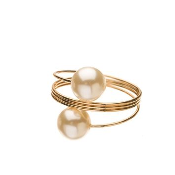 Metal Napkin Rings - Pearl (Gold)