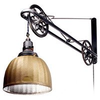 Radio Guy - Ornate Industrial Mercury Glass Swing Arm Pulley Lamp - 1stdibs