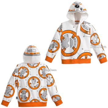 Licensed cool STAR WARS BB-8 Droid Robot Hoodie Sweatshirt for boys Disney Store Size 5/6 NWT