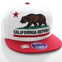 California Republic Flat Bill Vintage Style Snapback Hat Cap White Red
